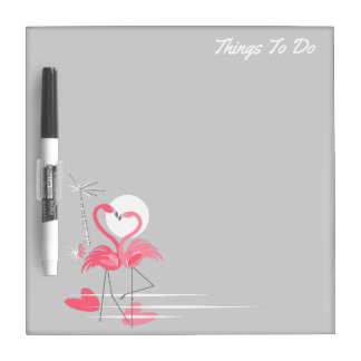 Flamingo Love Side Text dry erase board