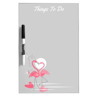 Flamingo Love Side Text dry erase board portrait