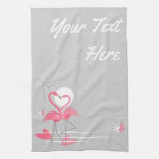 Flamingo Love Side Text kitchen towel vertical