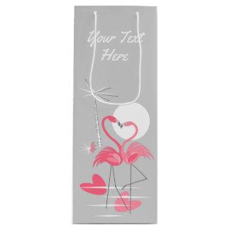 Flamingo Love Text gift bag wine