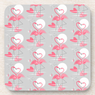 Flamingo Love Tiled coaster cork back