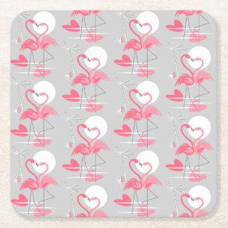 Flamingo Love Tiled coaster square