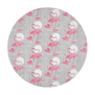 Flamingo Love Tiled cutting board round