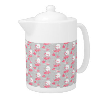 Flamingo Love Tiled teapot medium