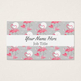Flamingo Love Tiled white stripe business card