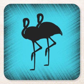Flamingo on Aqua Square Paper Coaster