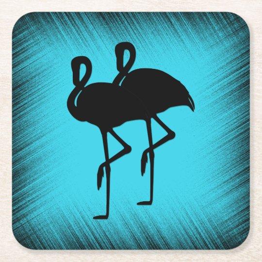 Flamingo on Aqua Square Paper Coaster