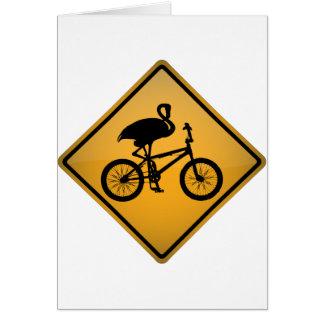 Flamingo on Bicycle Card