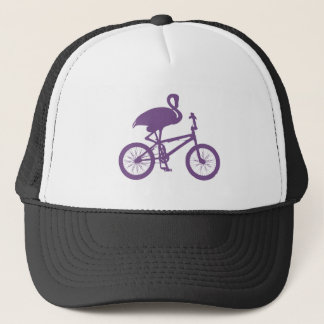 Flamingo on Bicycle Silhouette Trucker Hat