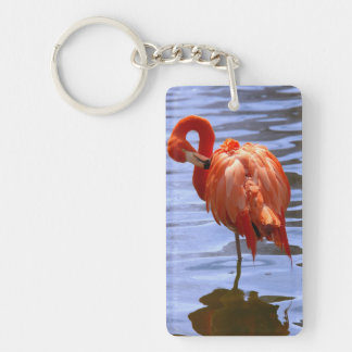 Flamingo on one leg in water Double-Sided rectangular acrylic keychain