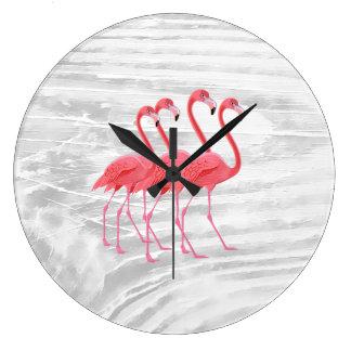 Flamingo on Washed Wood Large Clock