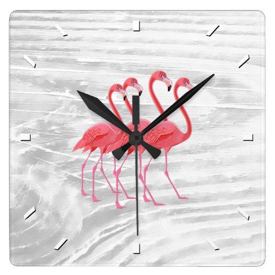 Flamingo on Washed Wood Wallclocks