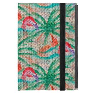 Flamingo Palm Tree Burlap Look iPad Mini Cover
