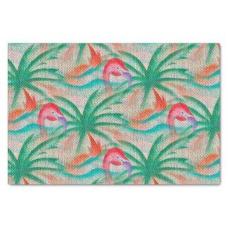 Flamingo Palm Tree Burlap Look Tissue Paper
