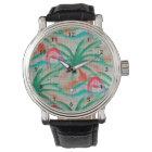 Flamingo Palm Tree Burlap Look Watch