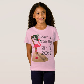 Flamingo Palm Tree Tropical Family Reunion Girls T-Shirt