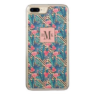 Flamingo & Palms on Geometric Pattern Carved iPhone 8 Plus/7 Plus Case