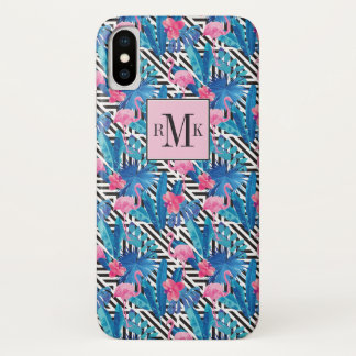 Flamingo & Palms on Geometric Pattern Case-Mate iPhone Case