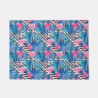 Flamingo & Palms on Geometric Pattern Doormat