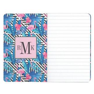 Flamingo & Palms on Geometric Pattern Journal