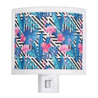 Flamingo & Palms on Geometric Pattern Nite Light
