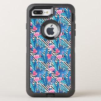 Flamingo & Palms on Geometric Pattern OtterBox Defender iPhone 8 Plus/7 Plus Case