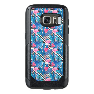 Flamingo & Palms on Geometric Pattern OtterBox Samsung Galaxy S7 Case