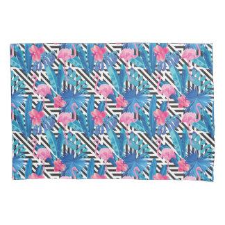 Flamingo & Palms on Geometric Pattern Pillowcase