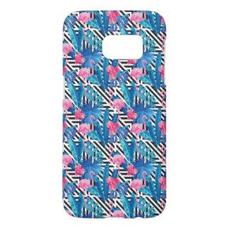 Flamingo & Palms on Geometric Pattern Samsung Galaxy S7 Case