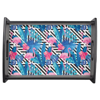 Flamingo & Palms on Geometric Pattern Serving Tray