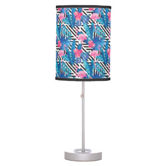 Flamingo & Palms on Geometric Pattern Table Lamp