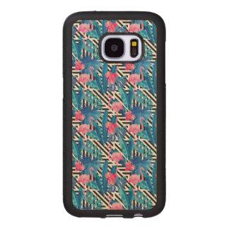 Flamingo & Palms on Geometric Pattern Wood Samsung Galaxy S7 Case