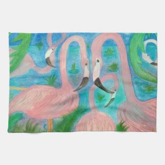 Flamingo party art towel