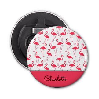 Flamingo Pattern Button Bottle Opener