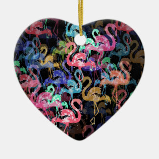 Flamingo pattern ceramic ornament