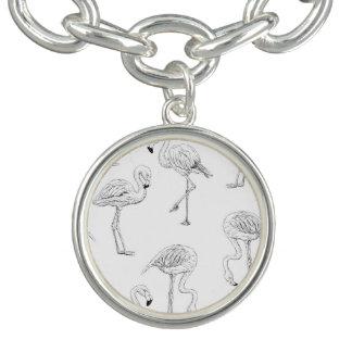 Flamingo pattern charm bracelet