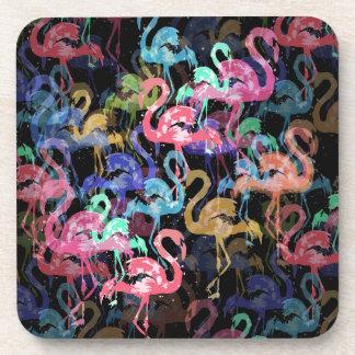 Flamingo pattern coaster