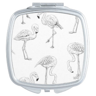 Flamingo pattern makeup mirrors