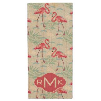 Flamingo Pattern | Monogram Wood USB 2.0 Flash Drive