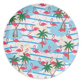 Flamingo pattern party plates