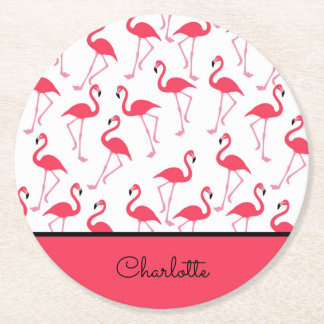 Flamingo Pattern Round Paper Coaster