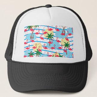 Flamingo pattern trucker hat