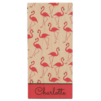 Flamingo Pattern Wood USB 2.0 Flash Drive