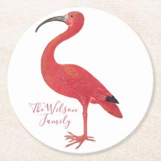 Flamingo - Personalized Fine Art Round Paper Coaster