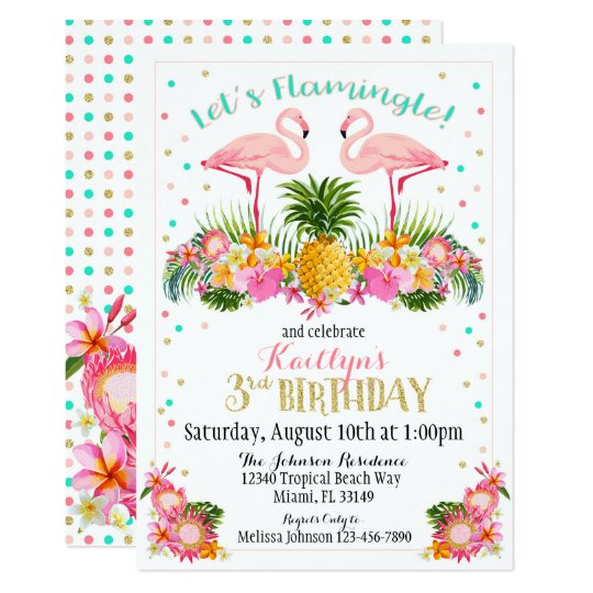 Flamingo Pineapple and Tropical Floral Birthday Card
