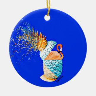 Flamingo Pineapple Round Ceramic Ornament