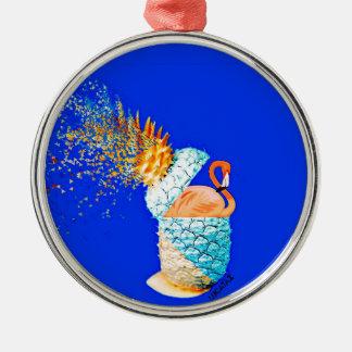 Flamingo Pineapple Silver-Colored Round Ornament