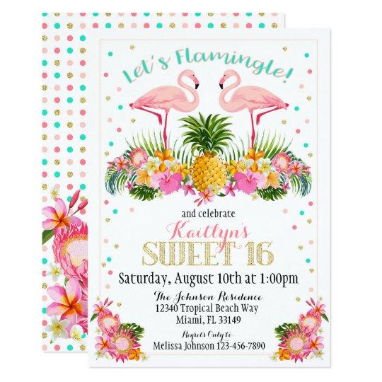 Flamingo Pineapple Tropical Sweet Sixteen Birthday Card