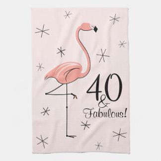 Flamingo Pink 40 and Fabulous! kitchen towel