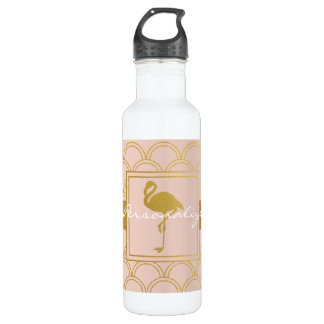 Flamingo Pink and Faux Gold Retro Pattern Modern 710 Ml Water Bottle